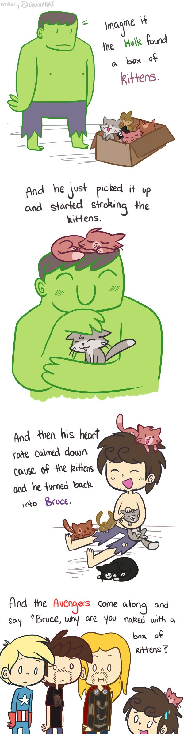 Avengers: Hulk and Kittens by ecokitty.deviantart.com