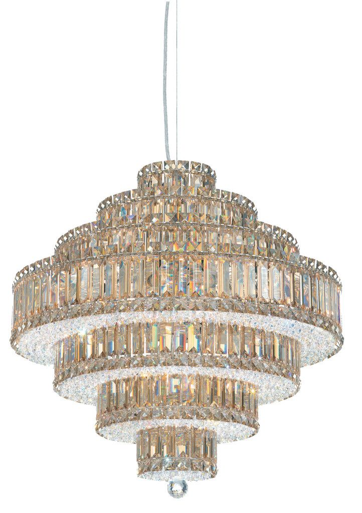 Schonbek 6675 24 wide 25 light chandelier from the plaza collection stainless steel indoor lighting chandeliers