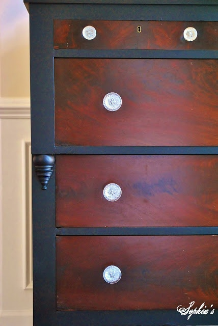 Two toned Black Empire Dresser. Revive unpainted wood grain with furniture Wax.