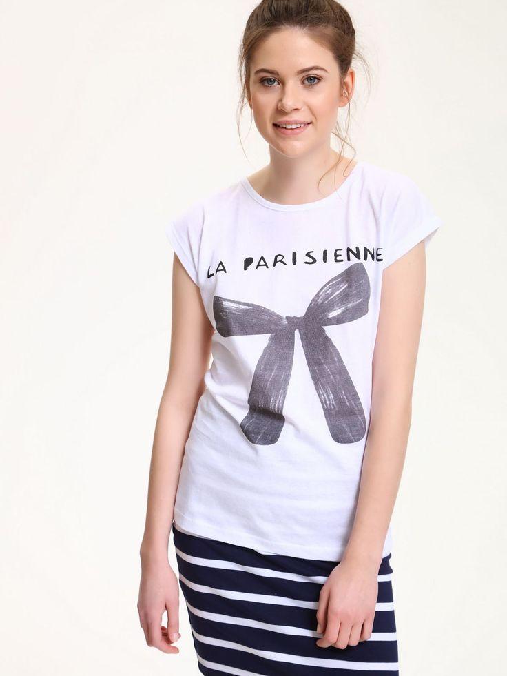 Comanda online, Tricou casual din bumbac Top Secret alb cu print. Articole masurate, calitate garantata!