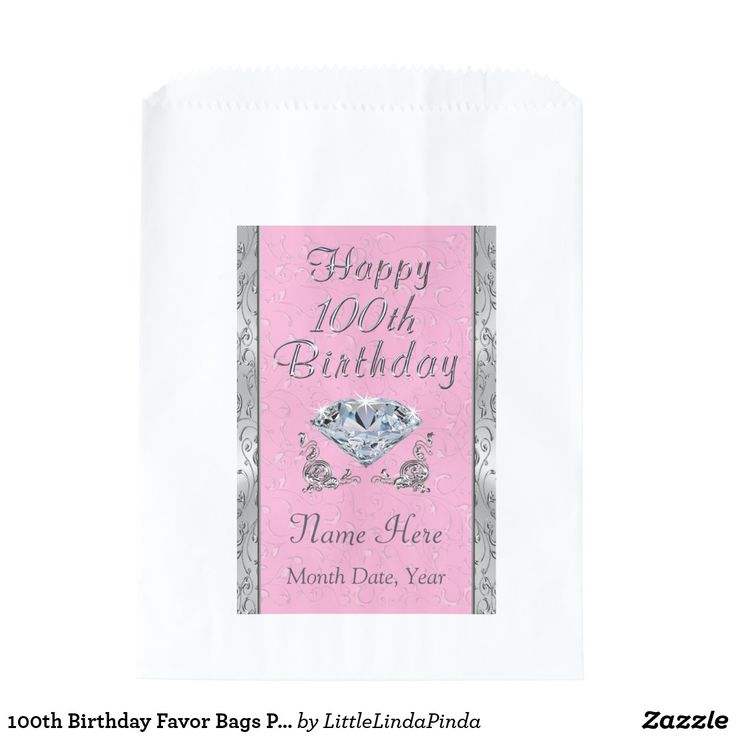 100th Birthday Party Supplies, Pink Favor Bags Personalized in Your Colors and Text CLICK HERE: https://www.zazzle.com/z/yp2v6?rf=238147997806552929 100th birthday party ideas, decorations, supplies and gifts in ANY YEAR, OCCASION, ANY COLOR with templates for Your Text on Hundreds of PRODUCTS.  Call Designer Linda for Changes and Help: 239-949-9090 More Here: https://www.zazzle.com/littlelindapinda/gifts?cg=196065483903420255