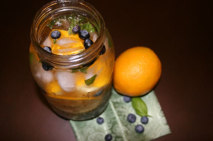 Blueberry Basil Orange Infused Water  Ingredients:  64 oz. cold water 1/4 cup blueberries, lightly crushed 1/4 cup basil leaves, torn 1 orange, sliced Directions:  Stir together all ingredients in a pitcher and chill overnight. Serve over ice.