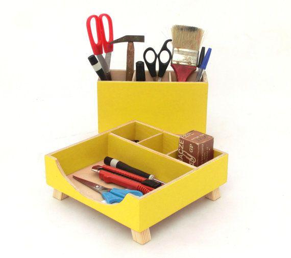 FREE SHIPPING  Desk Organizer Box Set Wooden by ClockWoodStudio