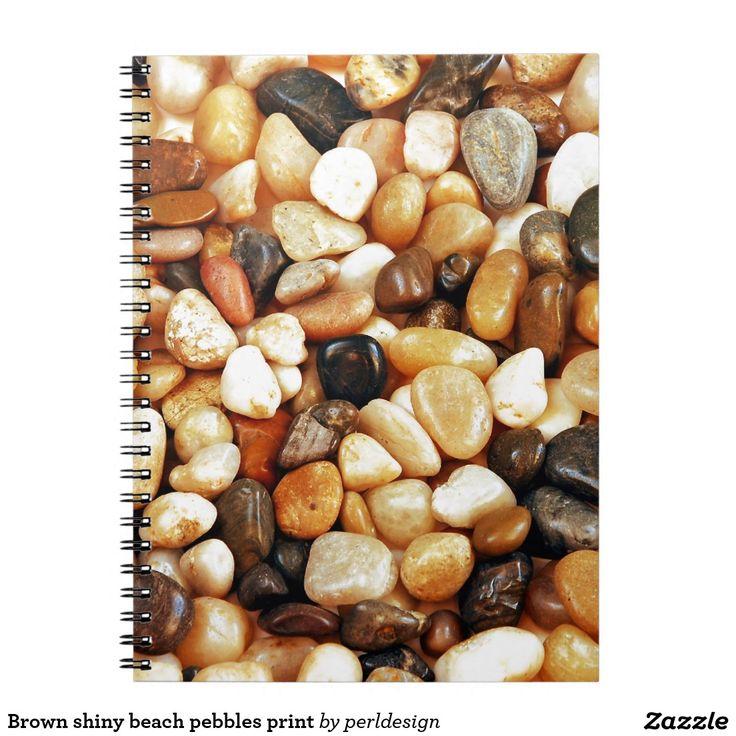 Brown shiny beach pebbles print notebook zazzleca