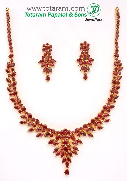 22K Gold Ruby Necklace & ear hangings set