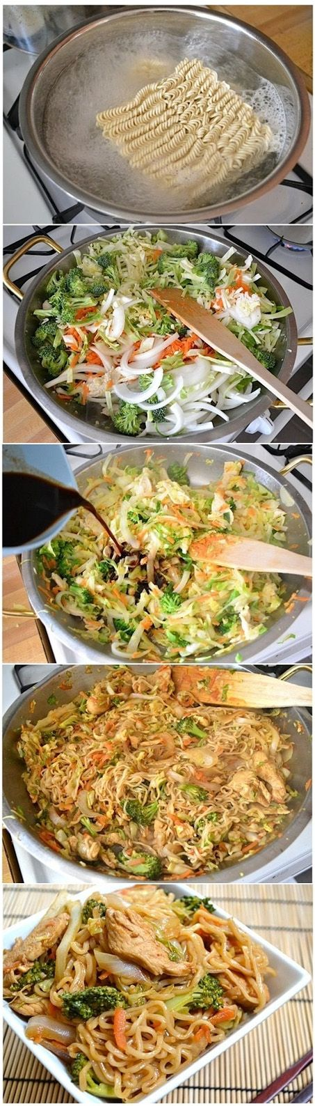 Ingredients ½ head green cabbage 1 medium yellow onion 2 medium carrots 1 small crown broccoli 2 inches fresh ginger 2 Tbsp vegetable oil 2 (3 oz.) packages ramen noodles seasoning packets discarded 1 tsp sesame oil (optional) ¼ cup soy sauce - without the chicken its vegan