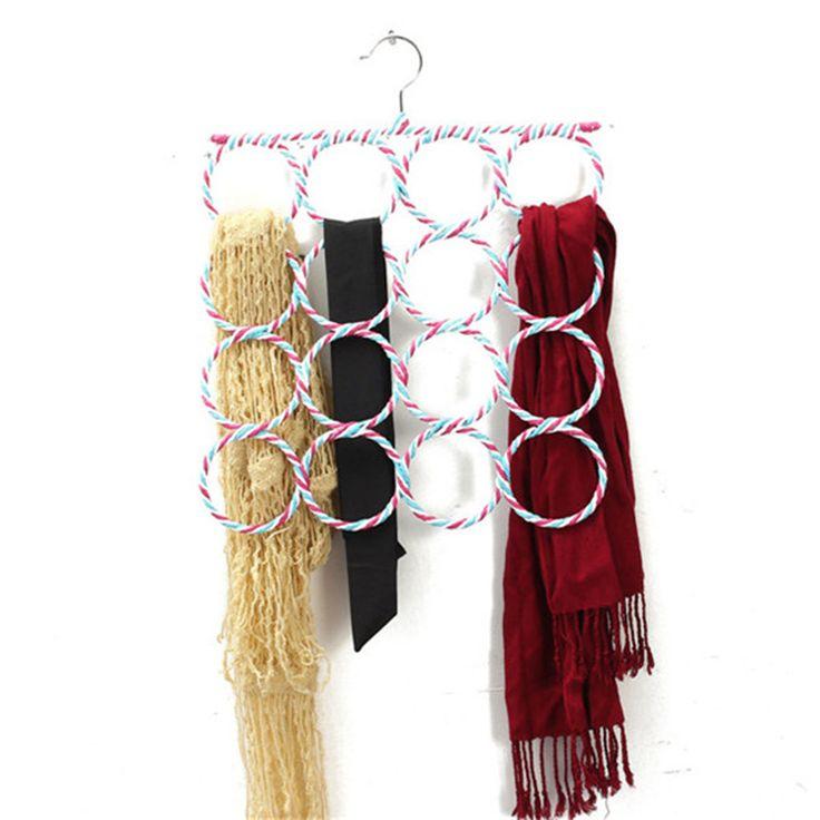 16 Lỗ Khe Cắm Vành Đai Tie Móc Organizer Chủ Thời Trang Mây Weave Khăn Choàng Khăn Gọn Gàng Treo 36 cm x 36 cm