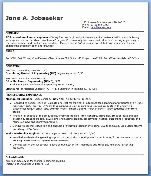 Mechanical Engineering Resume Template Awesome Mechanical Engineering Resume Sample In 2020 Mechanical Engineer Resume Engineering Resume Engineering Resume Templates