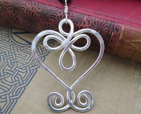 Big Celtic Heart Sterling Silver Wire Pendant by nicholasandfelice, $42.00
