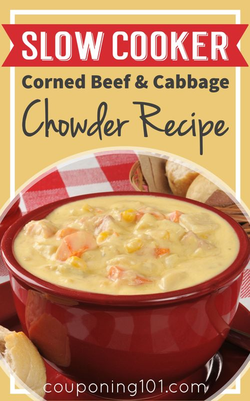 Slow Cooker Corned Beef and Cabbage Chowder Recipe - The perfect way to use the leftovers from your traditional St. Patrick's day meal!