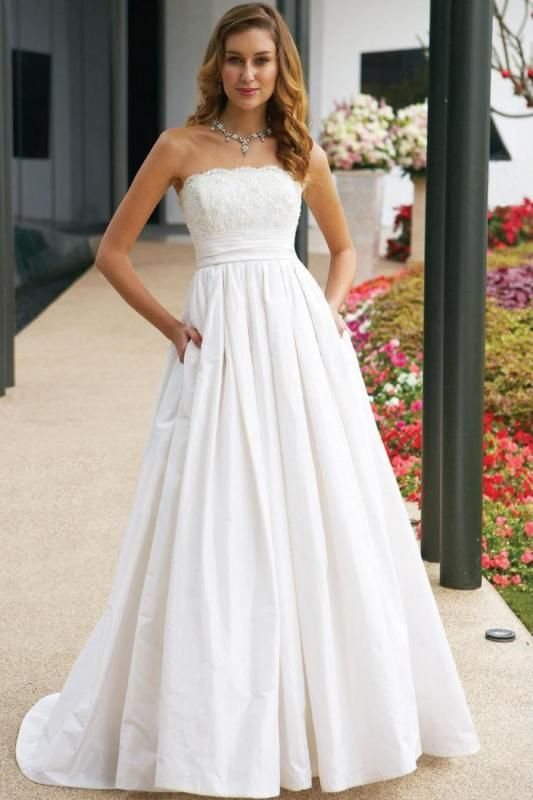 A-line Strapless Beaded Lace Sweep Train Vintage Wedding Dress