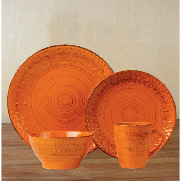16 Piece Round Stoneware Dinnerware Set Distressed Orange by Lorren Home Trends #LorrenHomeTrends