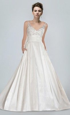 Draped Beaded V-neck Princess Plus Size Church Wedding Dress