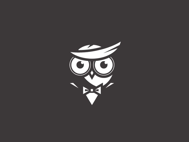 Party Seeker - Logo Design - Logomark, Marker, Owl, Bird, Bowtie, Suit, Smoking, Gentleman, Illustrative, Black & White
