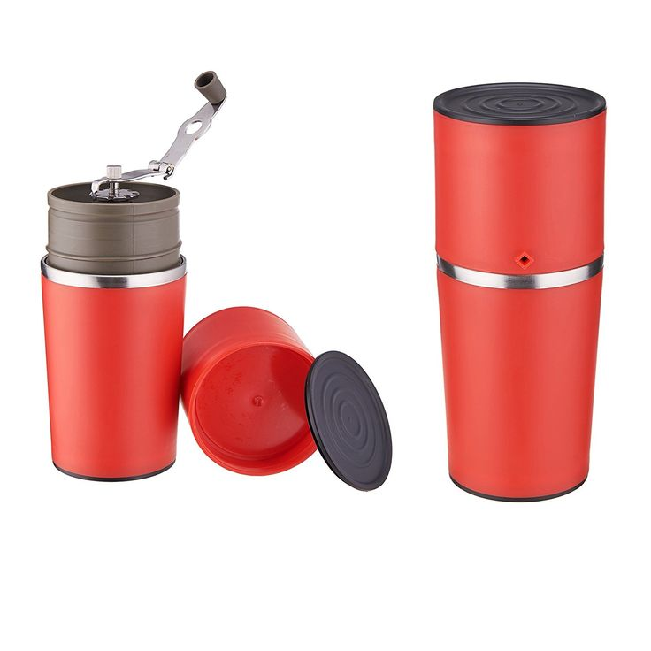 Pinty Manual Coffee Grinder Portable Coffee Maker Hand Mill Grinder Dripper Tumbler All In One Travel Mug (Red) *** Wow! I love this. Check it out now! : Coffee Maker