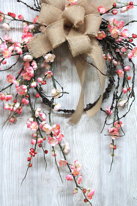 Free Shipping. Pink Cherry Blossom Wreath Farmhouse Wreath