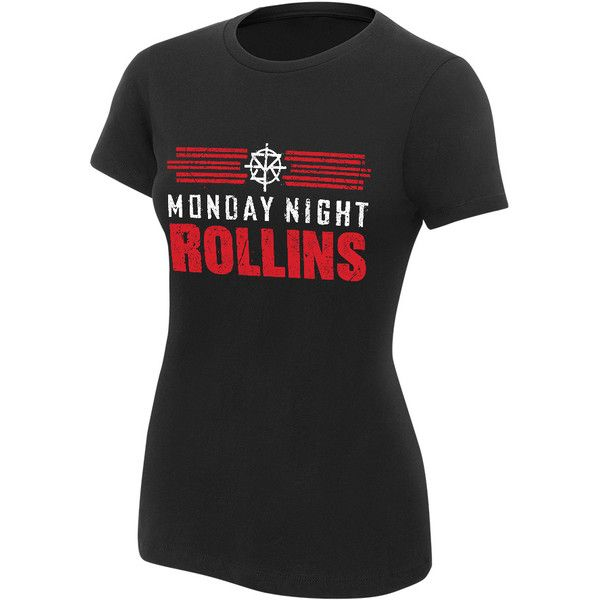 """Seth Rollins """"Monday Night Rollins"""" Women's T-Shirt ($17) ❤ liked on Polyvore featuring tops, t-shirts, cotton shirts, classic fit shirt, t shirts, shirt top and cotton tees"""