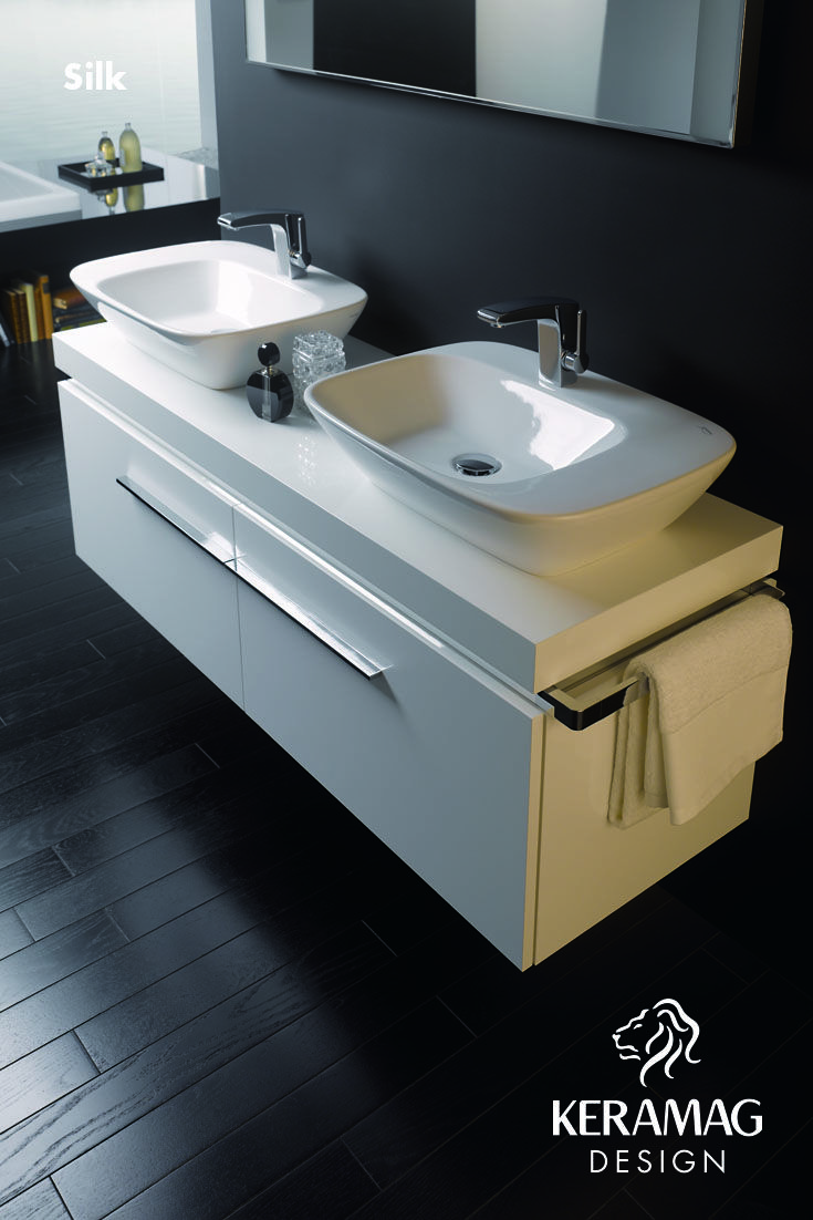 The Silk collection's double basin by Keramag Design UK. Find more at: http://www.keramagdesign.com/