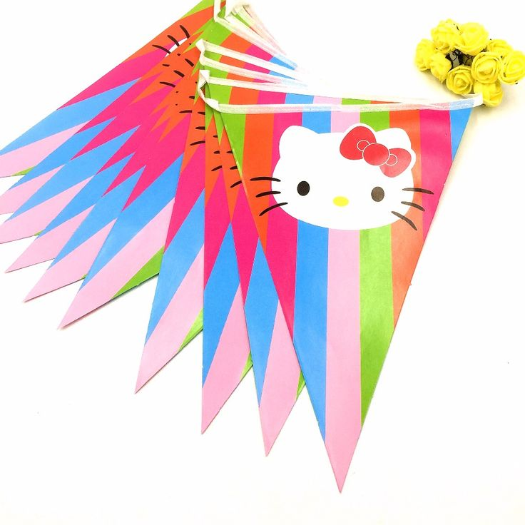 >> Click to Buy << 2.5m/set Hello Kitty Party Supplies Paper Colorful Banner Flag Kids Birthday Baby Shower Fovers Paper Flag Kitty Party Supplies #Affiliate
