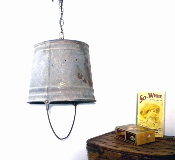 Funky Rustic Galvanized Pendant Light Via Etsy: Vintage Swag Lamp Rustic Galvanized Metal Bucket Shade