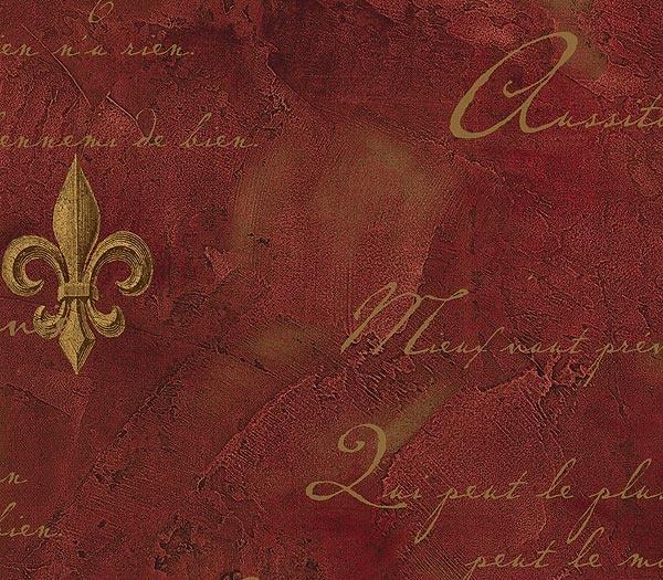 Red Faux Textured Fleur de Lis Wallpaper