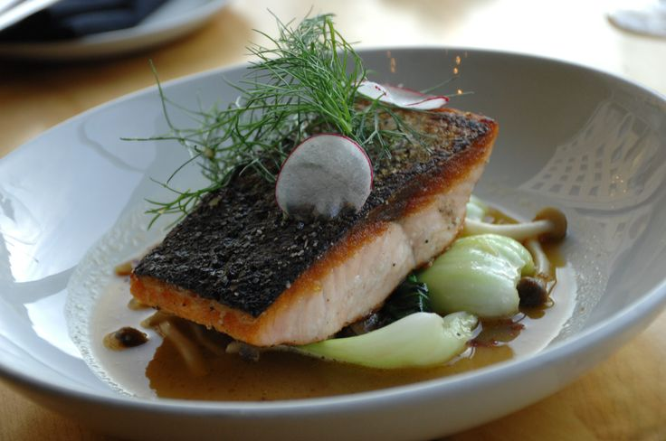 Canadian Atlantic Salmon: with bok choy, honey mushrooms, rainbow seaweed, shaved radish, and a lobster miso broth