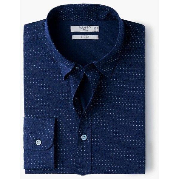 Camicia slim-fit pois - Camicie da Uomo | MANGO (€40) via Polyvore