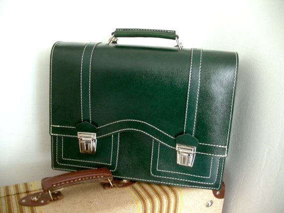 Leather school bag from the 60's or 70's. New, unused. Deadstock. 70er 60er 70s 60s 1970s 1960s Mod Indie Retro