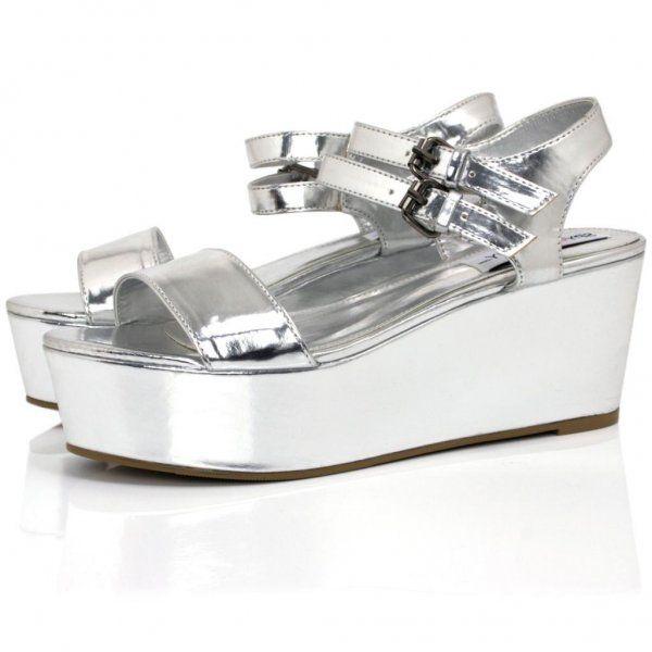 Silver Patent Flatform Sandals | Buy Silver Patent Flatform Sandals Online