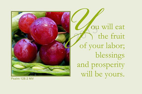 Scripture Art Print Grapes Peas Blessings by blessinganother, $12.00