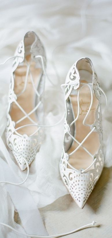 "White Lace Strappy Christian Louboutin Red Bottoms Pointed Toe High Heels in ""Impera"""