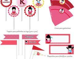 Kit Para Impressão - Kokeshi Kawaii