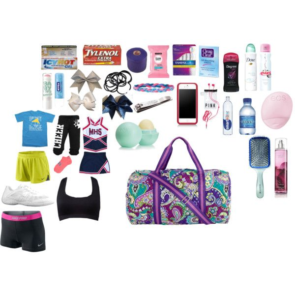 whats in my cheer bag by kendallbrown0111 on Polyvore featuring interior, interiors, interior design, home, home decor, interior decorating, NIKE, Forever 21, Under Armour and Vera Bradley