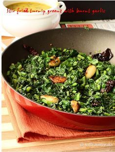 Stir fried garlic - y turnip greens and the yellow lentil soup / dals