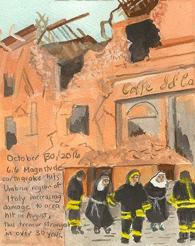 Elise Engler @Drawitall Day 304 10/30/16 FirstRadioHeadlineHeardoftheDay Drawing Project [ cloistered Norcia nuns rescued by first responders ] https://twitter.com/Drawitall/status/792814673708118016