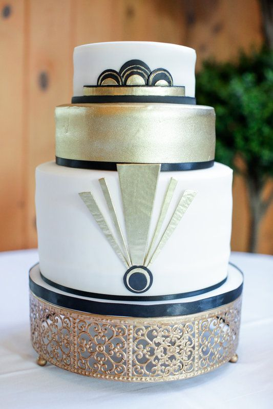 quinn & brent Photo By Jenny Smith & Co. Art Deco wedding cake, great gatsby old hollywood wedding, gold cream black