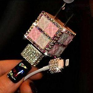 Evtech(tm) USB Wall Charger 3D Bling Rhinestone Crystal Glitter Phone Charger Plug - Pink & White
