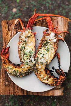 Grilled Lobster with Garlic-Parsley Butter   See more about grilled lobster, garlic butter and lobsters.
