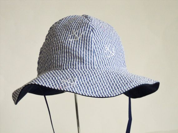 Baby Sun Hat Toddler Sun Hat Seersucker Anchors by AuntBsBonnets
