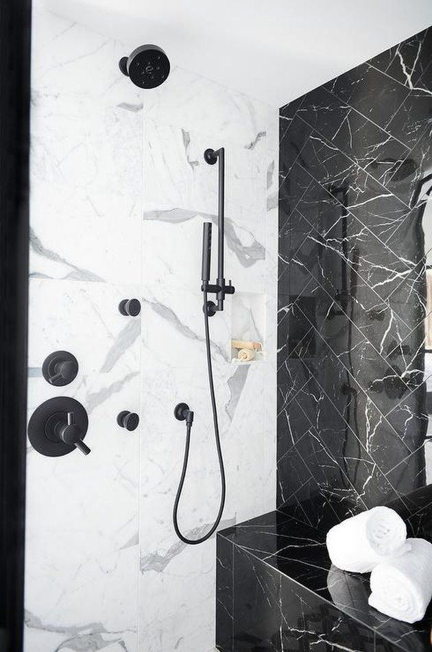 Shower Tile Ideas That Will Have You Looking Forward To Bath Time In 2020 Marble Shower Walls Shower Wall Tile Black Marble Bathroom