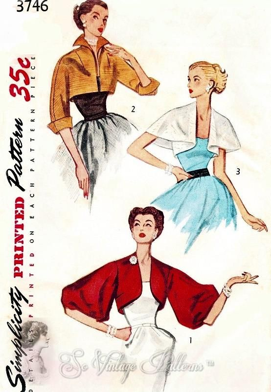 1950s GLAMOROUS Set of Short Jackets Pattern SIMPLICITY 3746 Day or Evening 3 Styles Dramatic Wing Collar, Cape Jacket and Stunning Full Sleeved Version Bust 30 Vintage Sewing Pattern