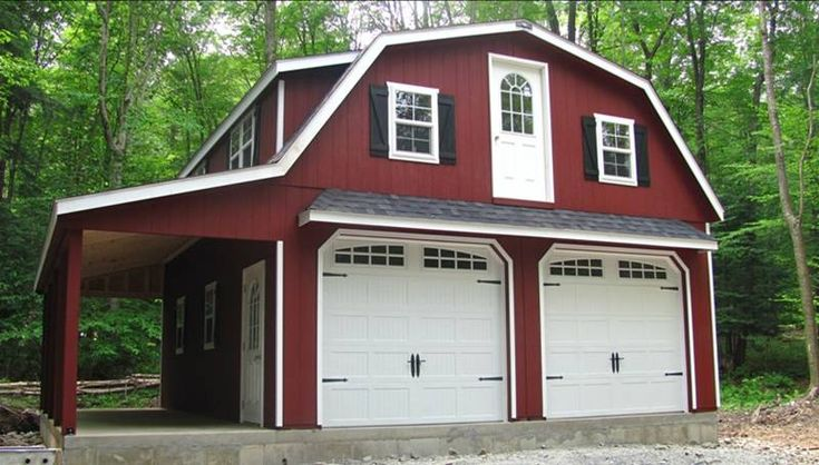 24 39 x 28 39 raised roof gambrel garage with 8 39 overhang in for Gambrel apartment garage plans
