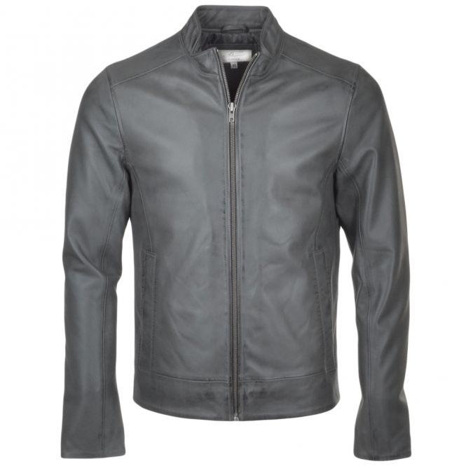 Leather Biker Jacket Gray : Vitteli