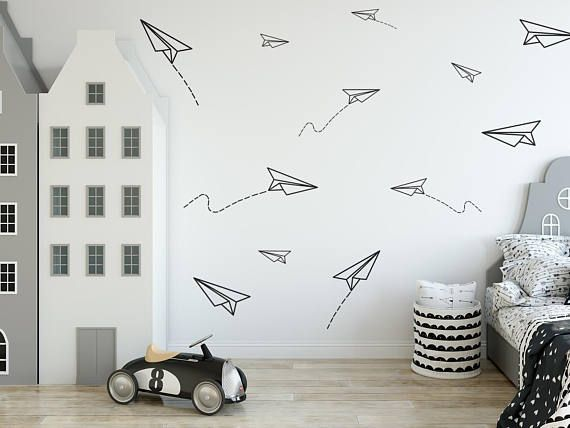 Paper Planes Wall Decal Boys Room Wall Decorpaper Plane Etsy Boy Room Wall Decor Vinyl Wall Decals Boys Room Boys Room Decals
