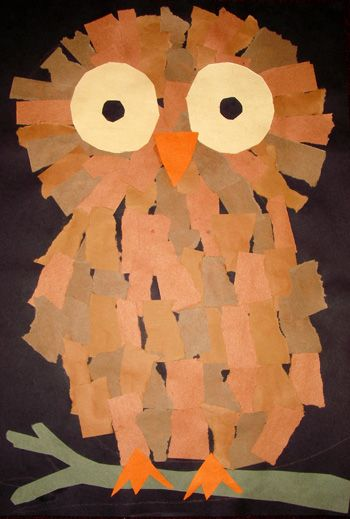 Torn paper owl art