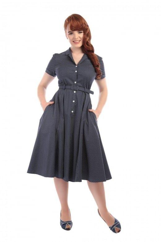 Collectif Vintage Caterina Polka Dot Shirt Swing Dress - Collectif Vintage from Collectif UK
