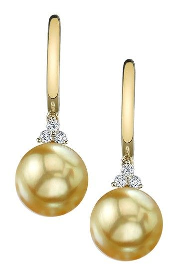 14K Yellow Gold 9mm Golden South Sea Pearl & Diamond Earrings
