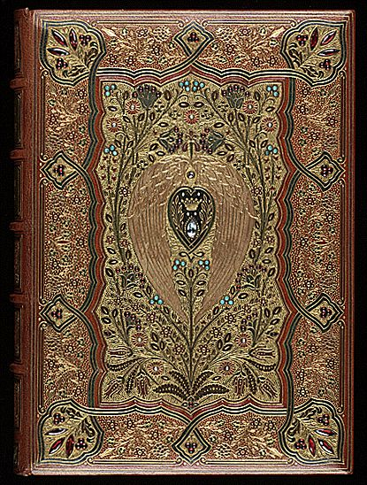 Lalla Rookh by Thomas Moore (Poet, Author. Ireland, 1779–1852). Cosway fine bookbinding by SANGORSKI & SUTCLIFFE (1860). Arabian romance originally published in 1817.   © Center Book & Periodical Collection, University of Texas, USA. More on  Sangorski & Sutcliffe:  http://en.wikipedia.org/wiki/Sangorski_%26_Sutcliffe  More on the author & this book: http://www.wwnorton.com/college/english/nael/romantic/topic_4/moore.htm