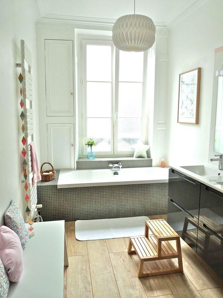 """salle de bain """"Mon petit univers""""- parquet au sol et murs vert d'eau"""