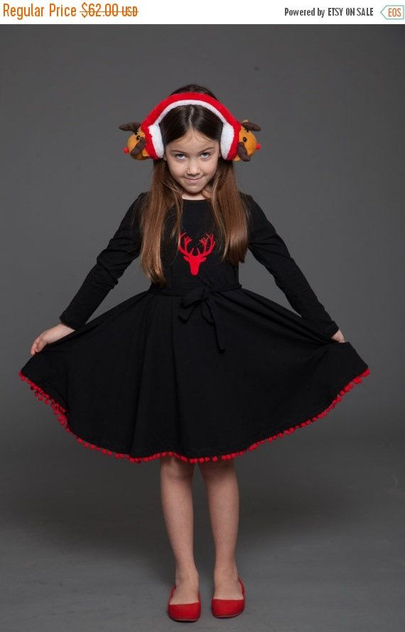 ON SALE Christmas  dress for girls  with a red deer by TAPUmeyou